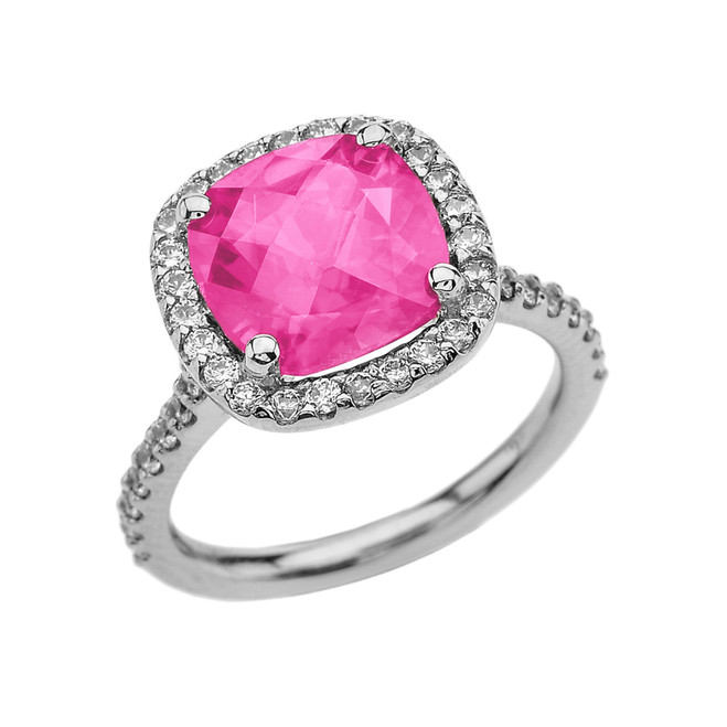 Halo Cushion Diamond Engagement and Proposal/Promise White Gold Ring With Center-stone 5 Ct Lab Created Pink Diamond