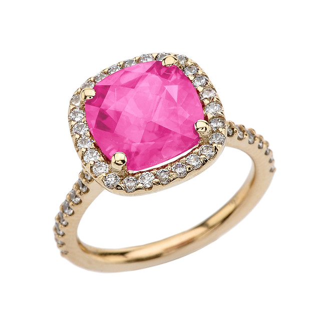 Halo Cushion Diamond Engagement and Proposal/Promise Yellow Gold Ring With Center-stone 5 Ct Lab Created Pink Diamond