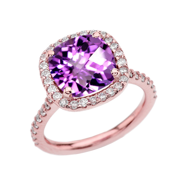 Halo Cushion 5 Ct Checkerboard Amethyst(LCA) and Diamond Rose Gold Engagement and Proposal/Promise Ring