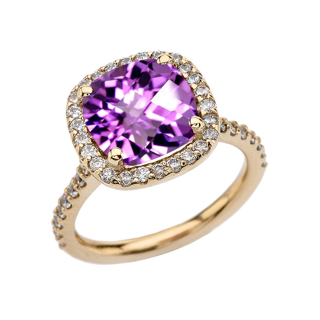 Halo Cushion 5 Ct Checkerboard Amethyst(LCA) and Diamond Yellow Gold Engagement and Proposal/Promise Ring
