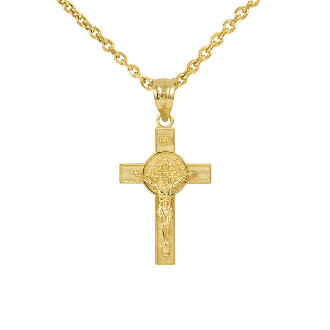 "Yellow Gold St. Benedict Crucifix Pendant Necklace (1.10"")"
