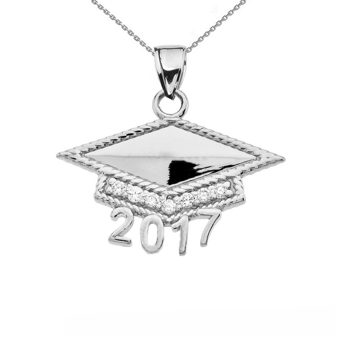 Sterling Silver Class of 2017 Graduation Cap with Diamond Pendant Necklace