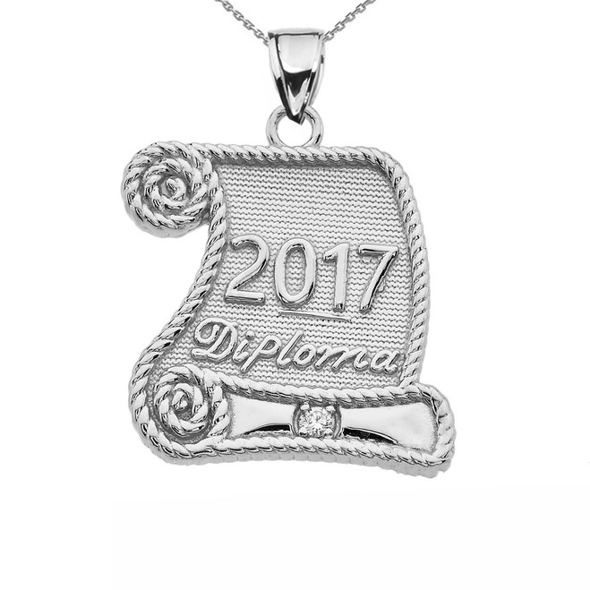 White Gold Class of 2017 Graduation Diploma With Cubic Zirconia Pendant Necklace