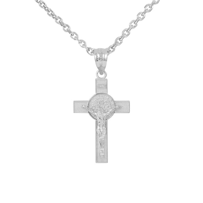 "Sterling Silver St. Benedict Crucifix Pendant Necklace  (1.10"")"