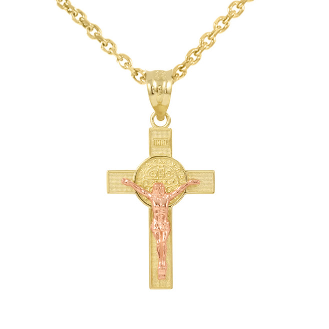 """Two Tone Yellow Gold and Rose Gold St. Benedict Crucifix Pendant Necklace (1.30"""")"""