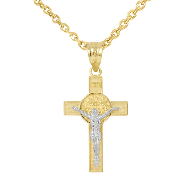 """Two Tone Yellow Gold and White Gold St. Benedict Crucifix Pendant Necklace (1.30"""")"""
