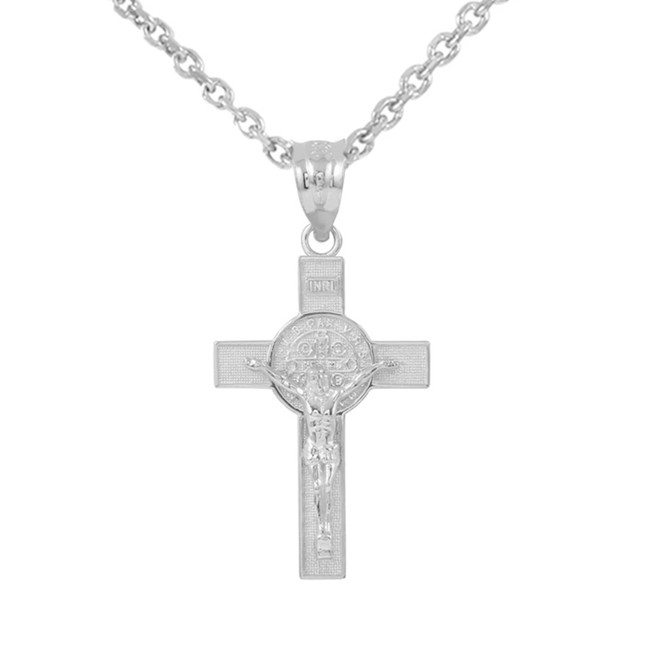 """Sterling Silver St. Benedict Crucifix Pendant Necklace (1.30"""")"""