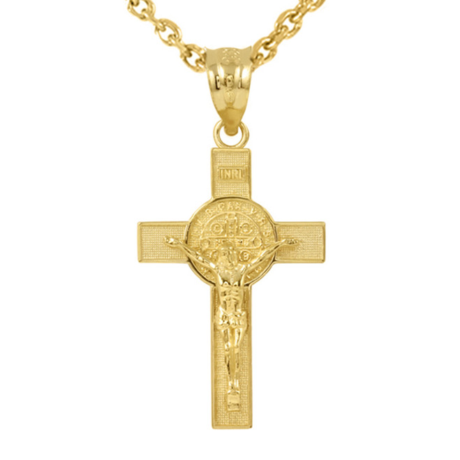 "Yellow Gold St. Benedict Crucifix Pendant Necklace (1.60"")"