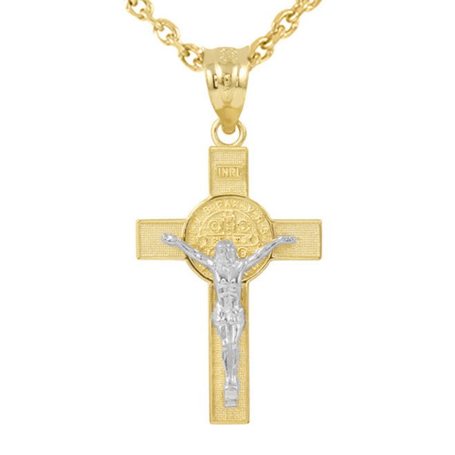 """Two Tone Yellow Gold and White Gold St. Benedict Crucifix Pendant Necklace (1.60"""")"""