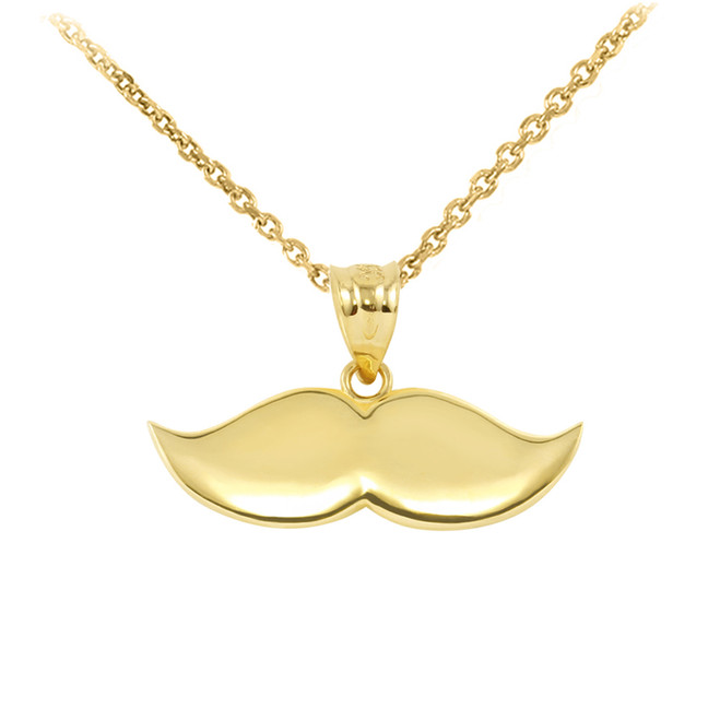 Yellow Gold Mustache Charm Pendant Necklace