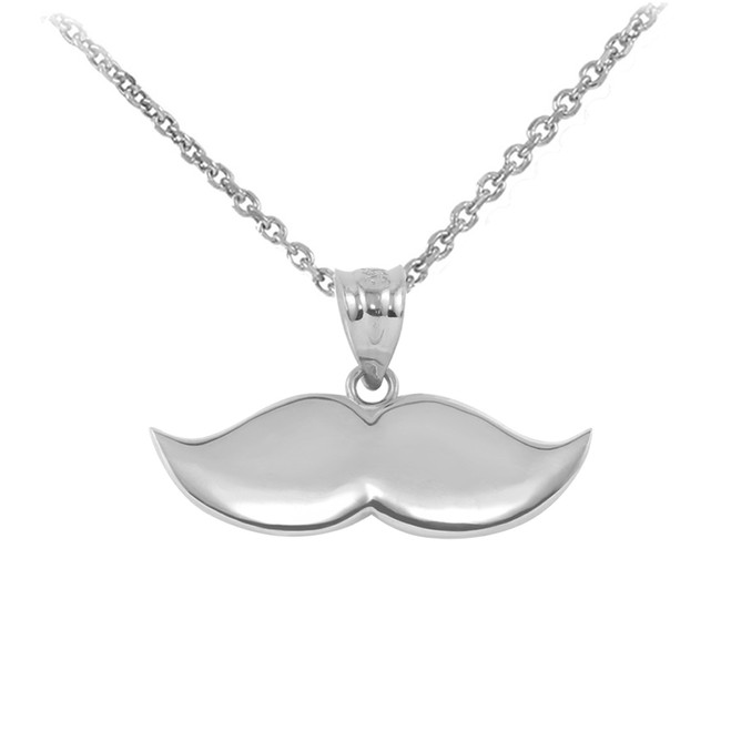 White Gold Mustache Charm Pendant Necklace