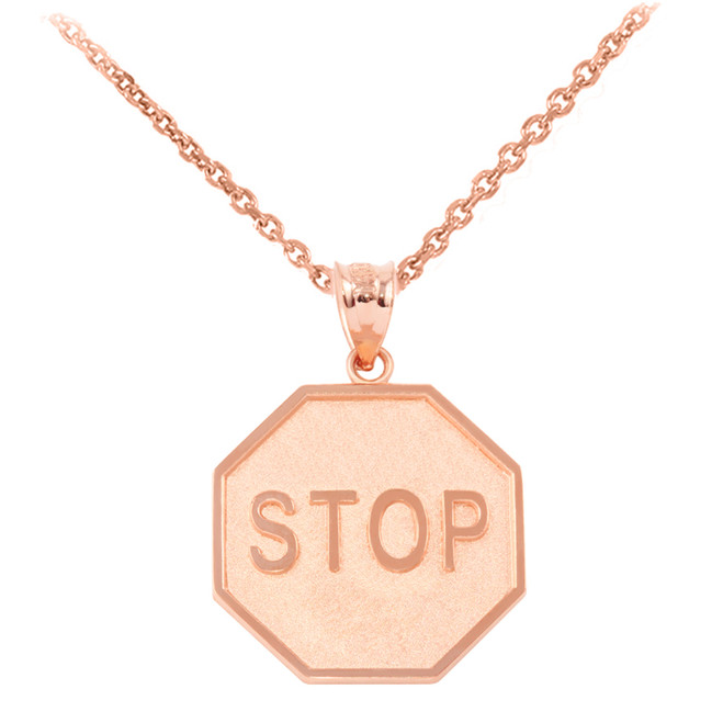 Rose  Gold Stop Sign Charm Pendant Necklace