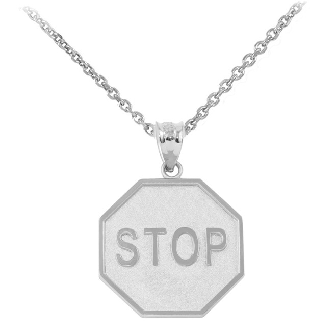 White  Gold Stop Sign Charm Pendant Necklace