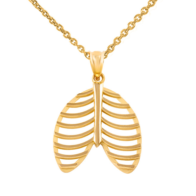 Yellow Gold Human Rib Cage Anatomy Pendant Necklace