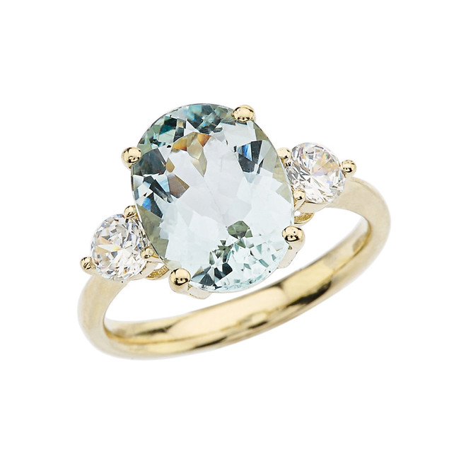 Yellow Gold Aquamarine and White Topaz Engagement and Proposal/Promise Ring