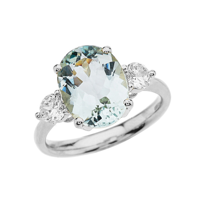 White Gold Aquamarine and White Topaz Engagement and Proposal/Promise Ring