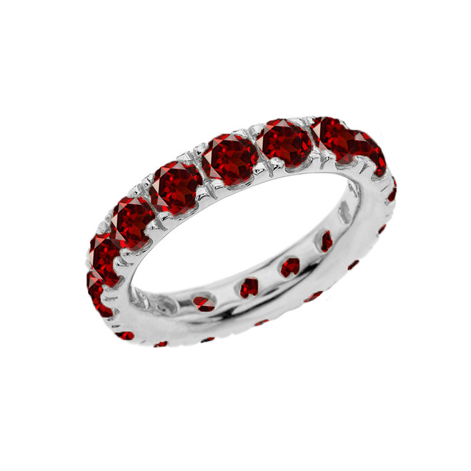 4mm Comfort Fit White Gold Eternity Band With 5.10 ct January Birthstone Genuine Garnet