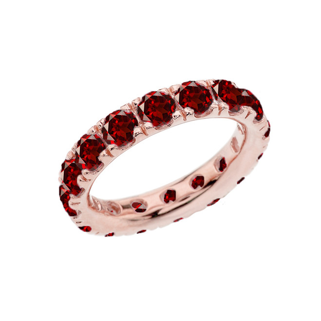 4mm Comfort Fit Rose Gold Eternity Band With 5.10 ct January Birthstone Genuine Garnet