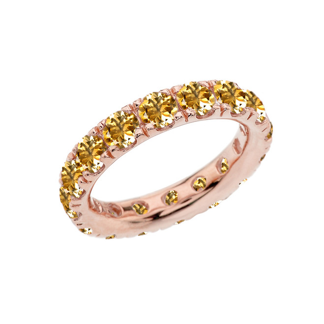 4mm Comfort Fit Rose Gold Eternity Band With 3.25 ct November Birthstone Genuine Citrine