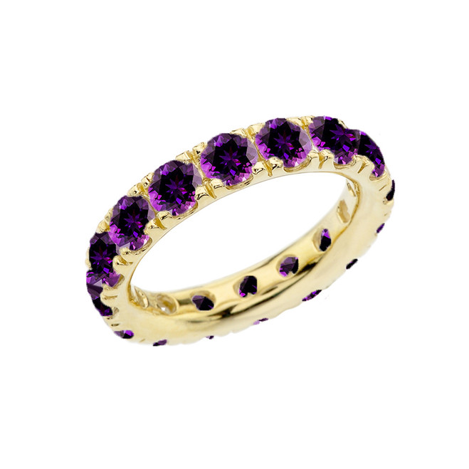 4mm Comfort Fit Yellow Gold Eternity Band With 4.00 ct February Birthstone Genuine Amethyst