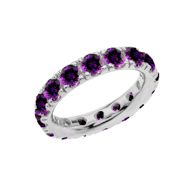 4mm Comfort Fit White Gold Eternity Band With 4.00 ct February Birthstone Genuine Amethyst
