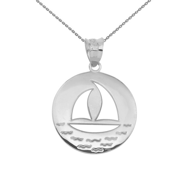White Gold Nautical Sailboat Silhouette Pendant Necklace