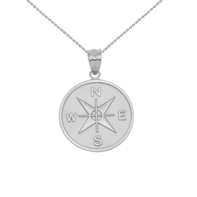 White Gold Compass Medallion Pendant Necklace