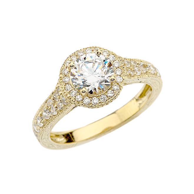 Yellow Gold Art Deco Diamond Engagement Ring With 1 ct White Topaz Center Stone
