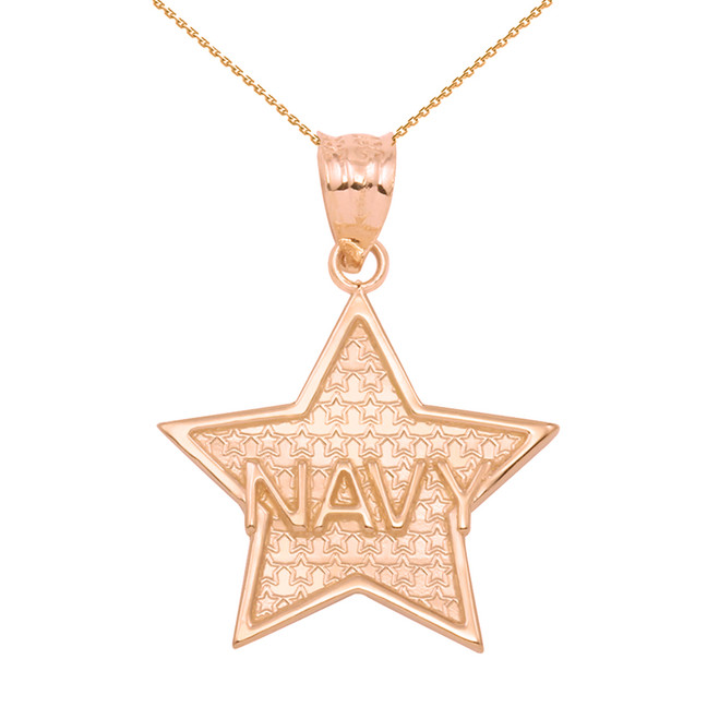 Rose Gold Navy Star Pendant Necklace