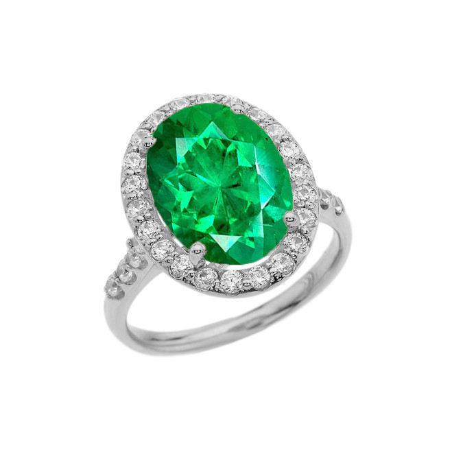 White Gold Engagement Ring With 10 ct Oval Green CZ Center Stone