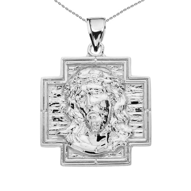 White Gold Antique Replica Of Jesus Face Pendant Necklace
