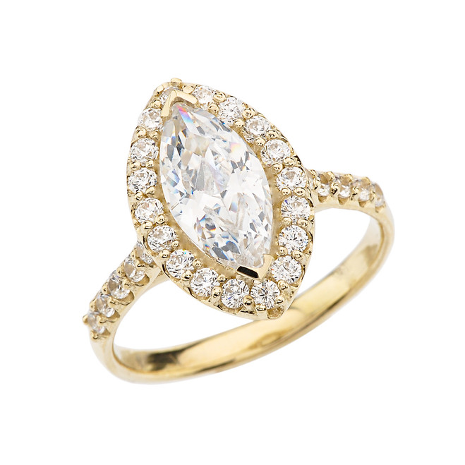 Yellow Gold Engagement/Proposal Ring With Marquise Cut Cubic Zirconia