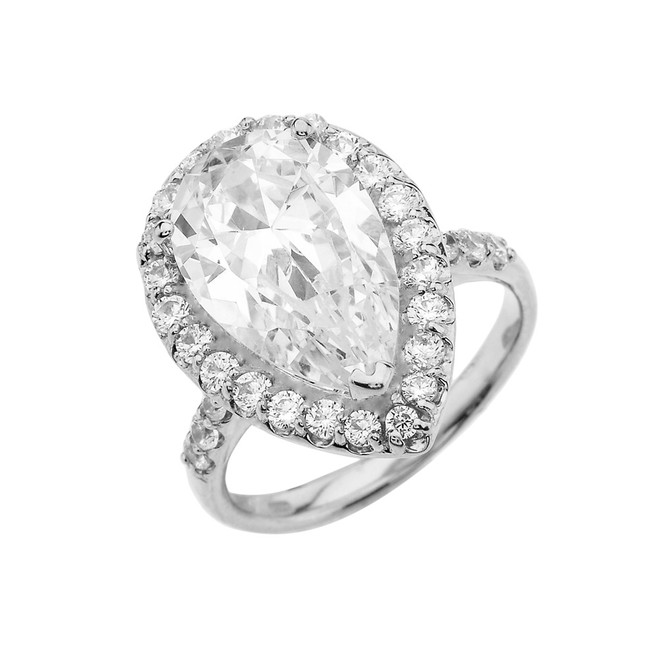 Sterling Silver Engagement/Proposal Ring With Pear Cut Cubic Zirconia