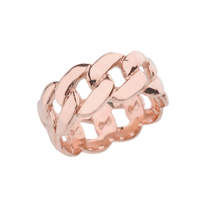 Rose Gold 10 mm Unisex Cuban Link Chain Eternity Band Ring