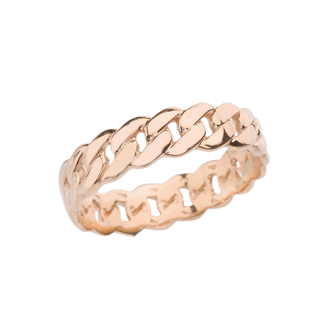 Rose Gold 5 mm Cuban Link Chain Eternity Band Ring