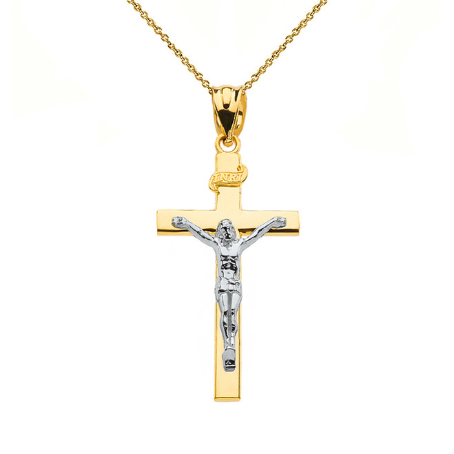 "Two Tone Yellow Gold and White Gold Jesus Crucifix Cross Pendant Necklace ( 1.18"")"