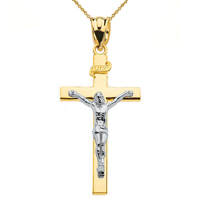 "Two Tone Yellow Gold and White Gold Jesus Crucifix Cross Pendant Necklace ( 1.60"")"