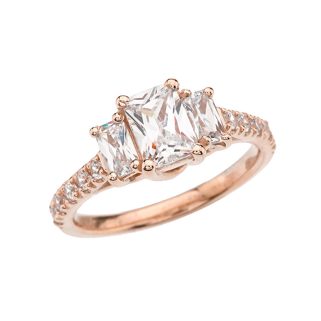 Rose Gold Emerald Cut Fancy Engagement/Proposal Ring With Cubic Zirconia