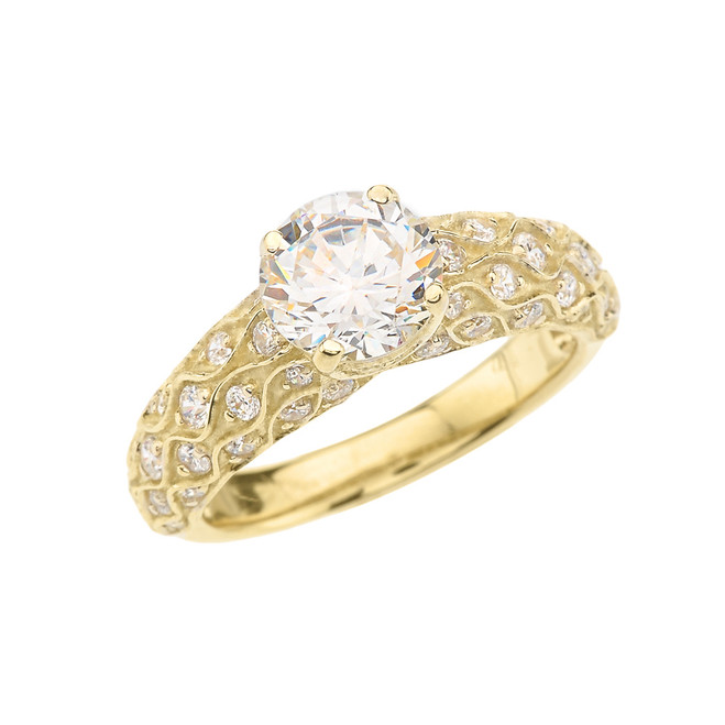 Yellow Gold Engagement Ring With Cubic Zirconia Center