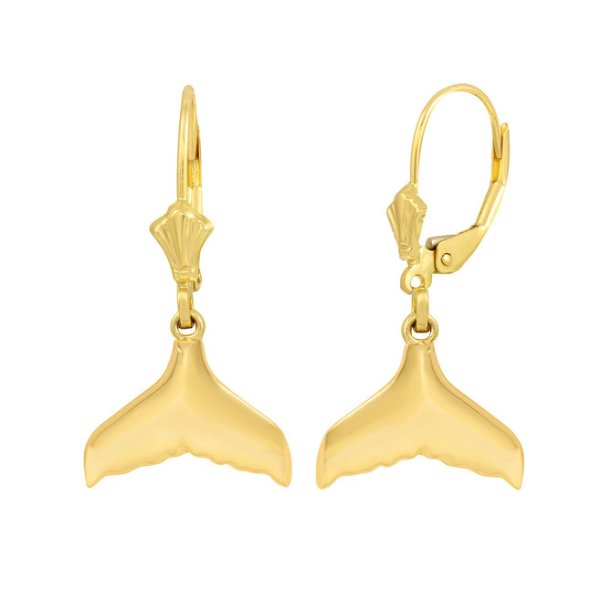 14K Yellow Gold Whale Tail Earring Set