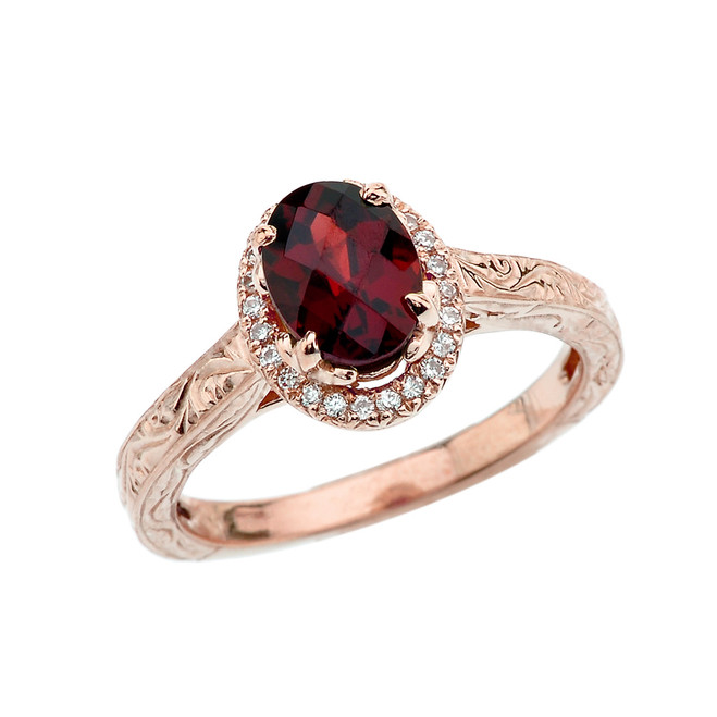 Rose Gold Diamond Checkerboard Art Deco Halo Garnet Engagement/Proposal Ring