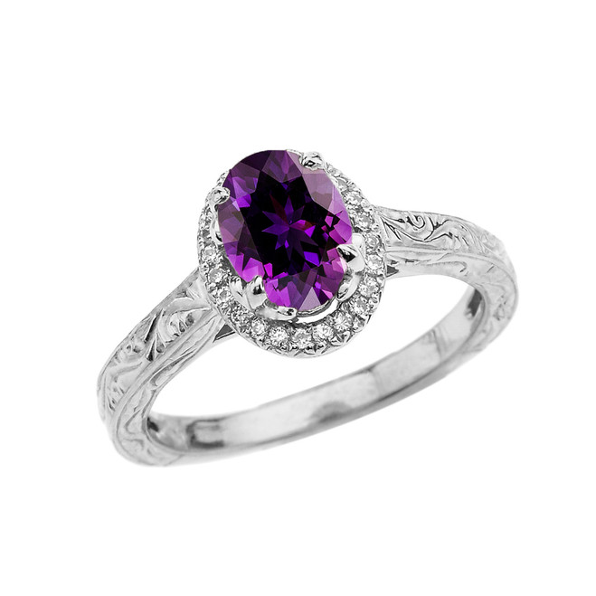 White Gold Art Deco Halo Diamond With Amethyst Engagement/Proposal Ring