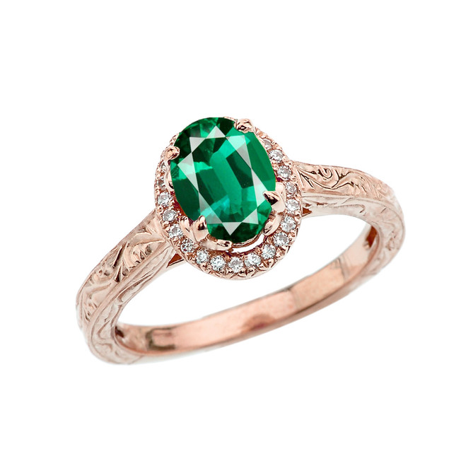 Rose Gold Art Deco Halo Diamond With Emerald(LCE) Engagement/Proposal Ring