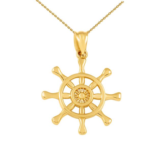 Yellow Gold Nautical Ship  Wheel Pendant Necklace