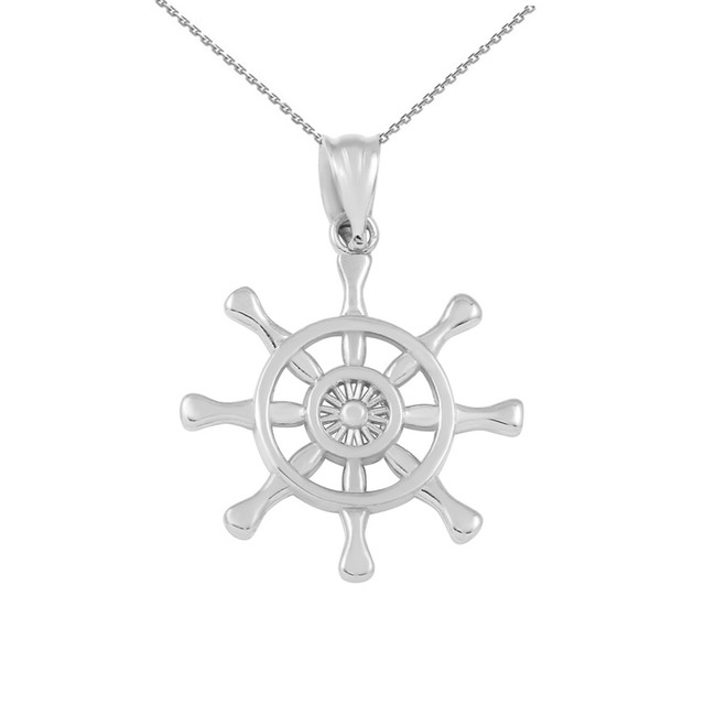 White Gold Nautical Ship  Wheel Pendant Necklace