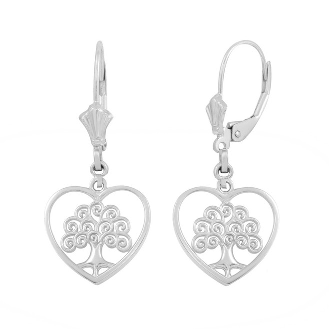 Sterling Silver Tree of Life Open Heart Filigree Earring Set
