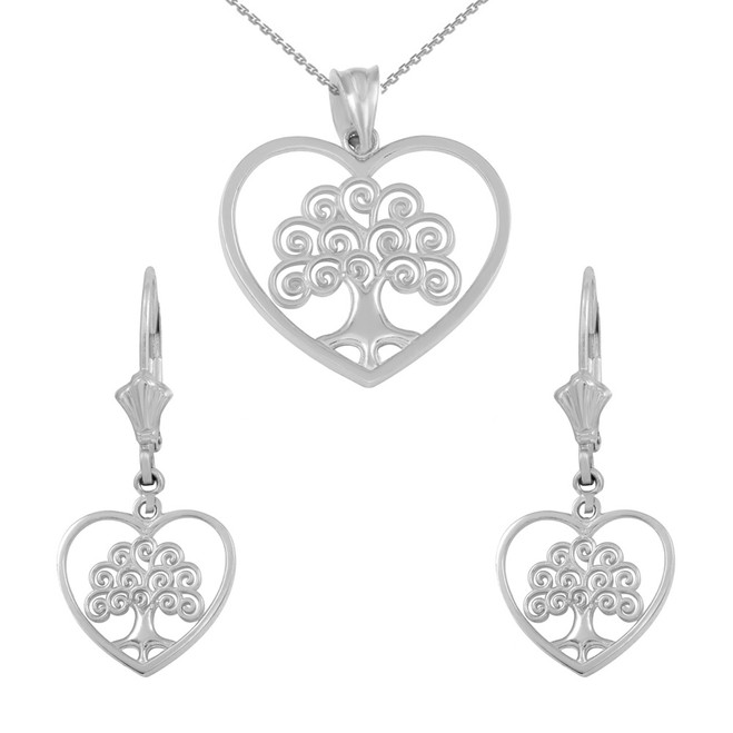 Sterling Silver Tree of Life Open Heart Filigree Pendant Necklace Earring Set