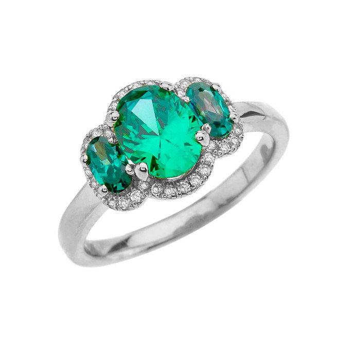 White Gold Tree Stone Halo Diamond Proposal Ring With May Birthstone