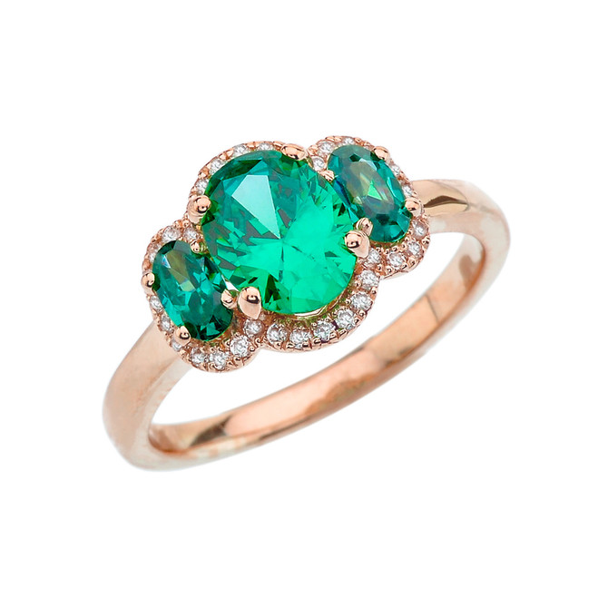 Three-Stone May Birthstone with Diamond Halo Engagement Ring in Rose Gold