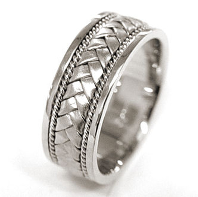 White Gold Wedding Band Hand-Braided